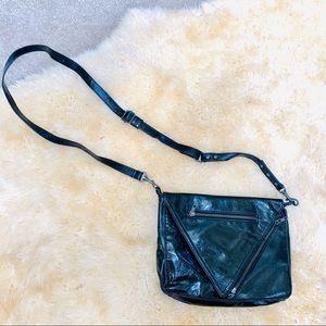 H&M black patent leather cross body shoulder bag